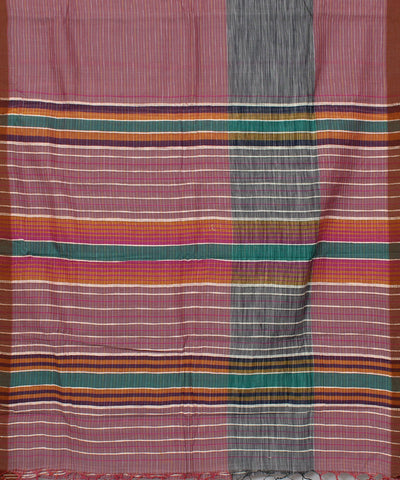 Handloom Peach Stripe Cotton Khadi Saree