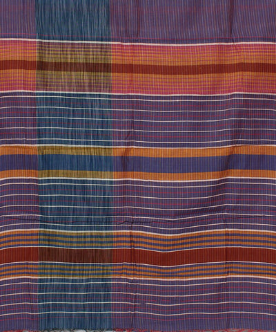 Handloom Purple Stripe Cotton Khadi Saree