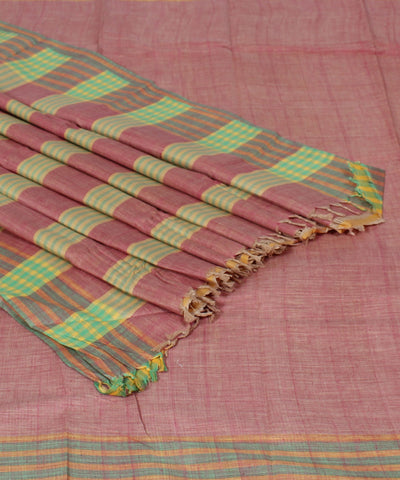 Handwoven Light Peach Cotton Khadi Saree