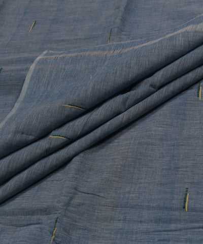 Blue and White Handloom Cotton Fabric