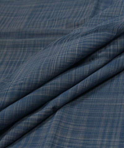 Blue and White Handloom Checks Cotton Fabric