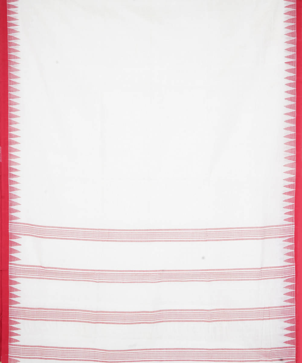 Off White Red Handloom Kuppadam Cotton Saree