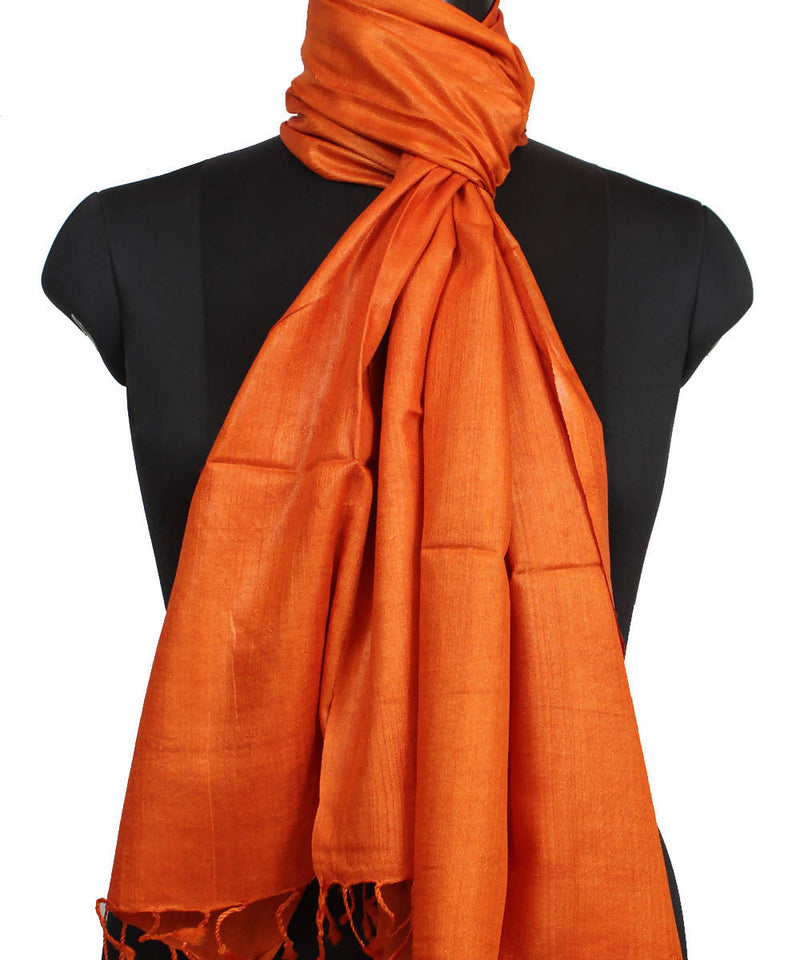 Carrot Orange Handloom Tussar Silk Stole