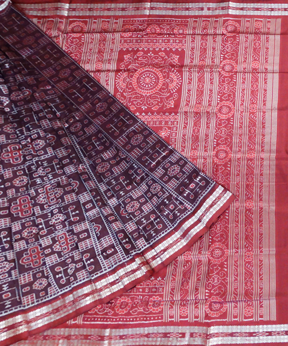 Black Bean Sambalpuri Handloom Silk Saree