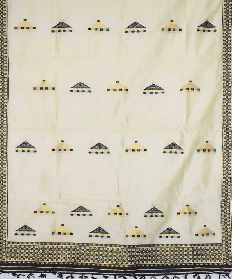 Beige And Black Contrast Mekhela Chador