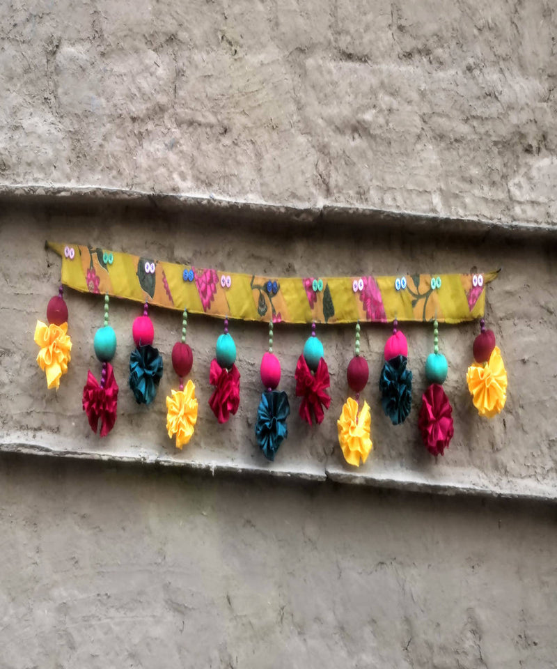 Yellow pink silk cotton handmade patch toran
