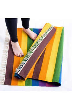 Rainbow Handwoven Cotton Rug Floor Mat