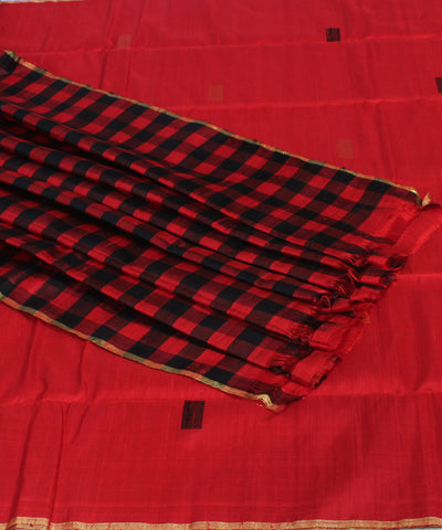 Red Karnataka Handwoven Raw Silk Saree