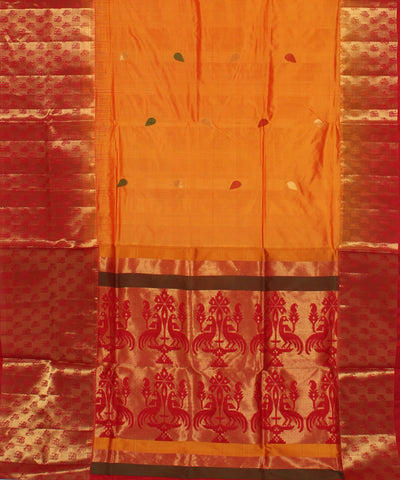 Khadi Yellow Orange Handwoven Silk Saree