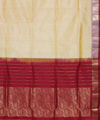 Khadi Handwoven Cream Silk Saree
