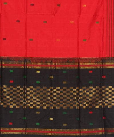 Khadi Red Handwoven Silk Saree