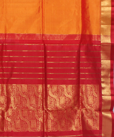 Khadi Golden Red Handwoven Silk Saree