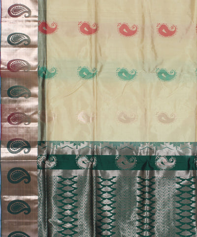 Khadi Cream and Green Handwoven Silk Saree