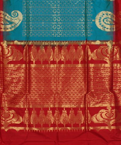 Khadi Blue and Red Handwoven Silk Saree