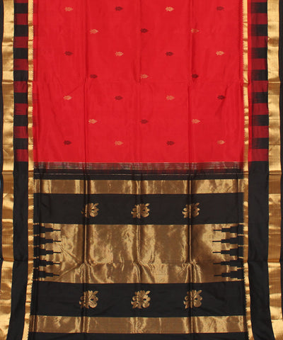 Khadi Black and Red Handwoven Silk Saree