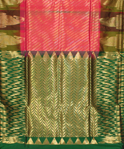 Khadi Pink and Green Handwoven Silk Saree
