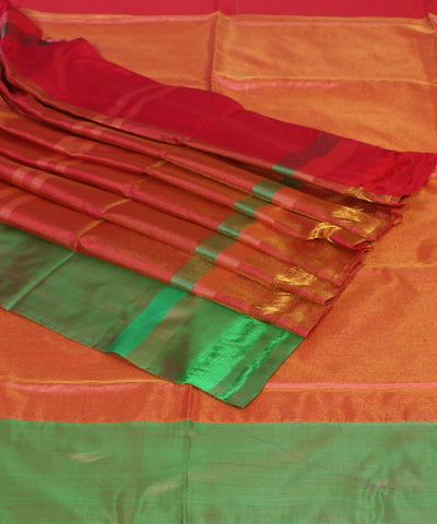 Khadi Golden Peach Handwoven Silk Saree