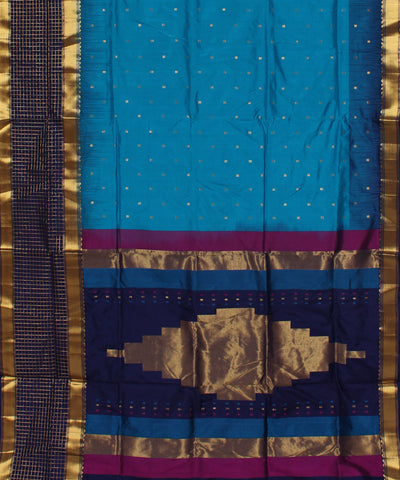 Khadi Blue Handwoven Silk Saree