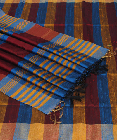 Khadi Blue with Brown Handwoven Silk Saree