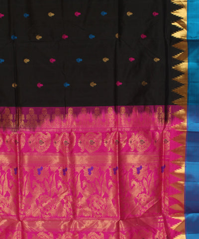 Khadi Black Handwoven Silk Saree