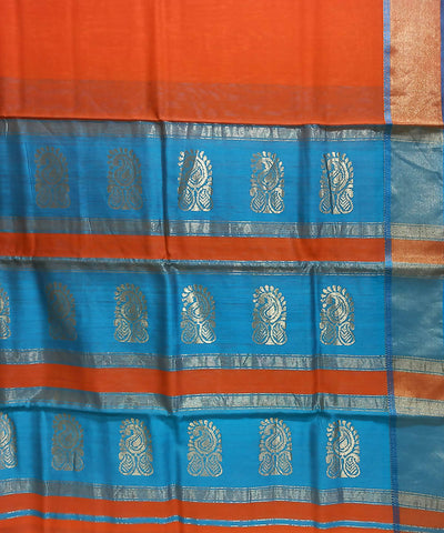 Maheshwari Fire Orange Handloom Cotton Silk Saree