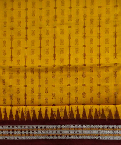 Yellow hazar butti Sonepuri silk Handwoven Saree