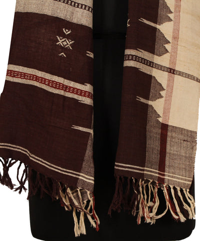 Offwhite and Brown Handwoven Kotpad Cotton Dupatta (GC/Kotpad/D8)