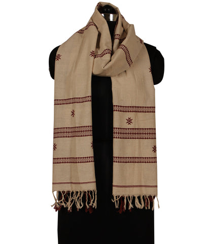 Offwhite and Maroon Handwoven Kotpad Cotton Dupatta (GC/Kotpad/D3)