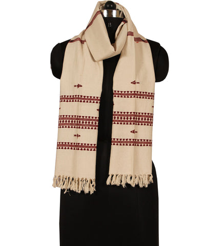 Offwhite and Maroon Handwoven Kotpad Cotton Dupatta (GC/Kotpad/D6)