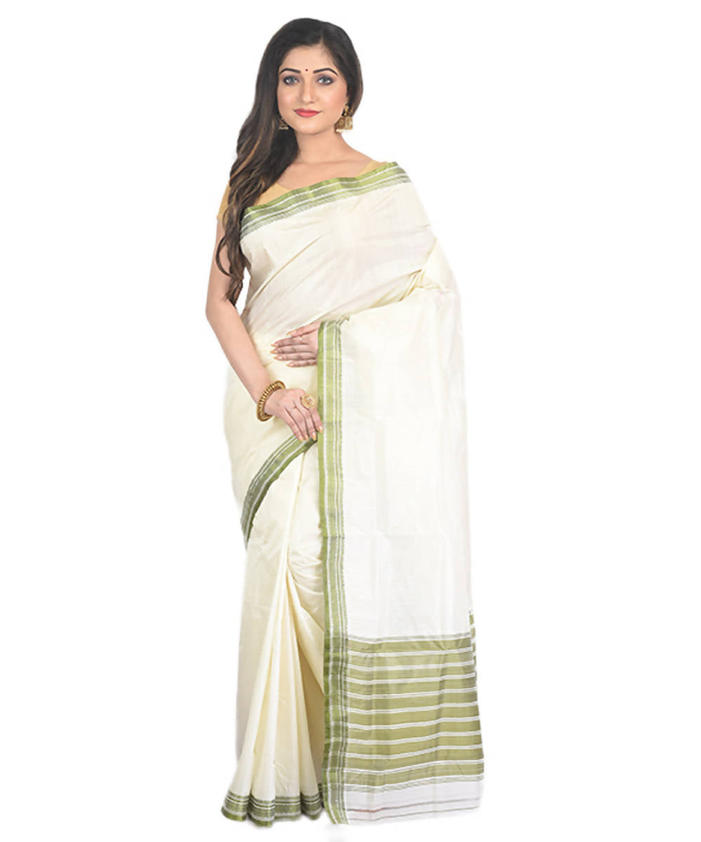 Offwhite with green border handloom garad silk saree