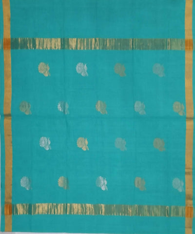 Teal with gold shimmer border Handwoven Venkatagiri cotton Saree
