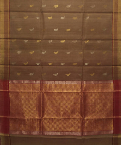 Handwoven Brown Golden Kosa Silk Saree