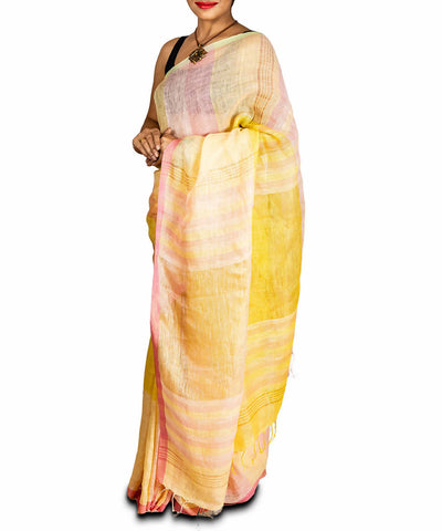 Light yellow handwoven tissue linen saree