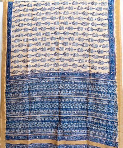White blue handblock printed chanderi cotton silk saree
