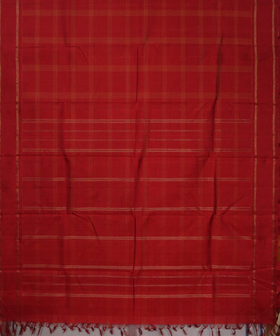 Red Checks Handwoven Arni Silk Saree