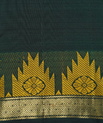 Dark Bottle Green Handwoven Arni Silk Saree