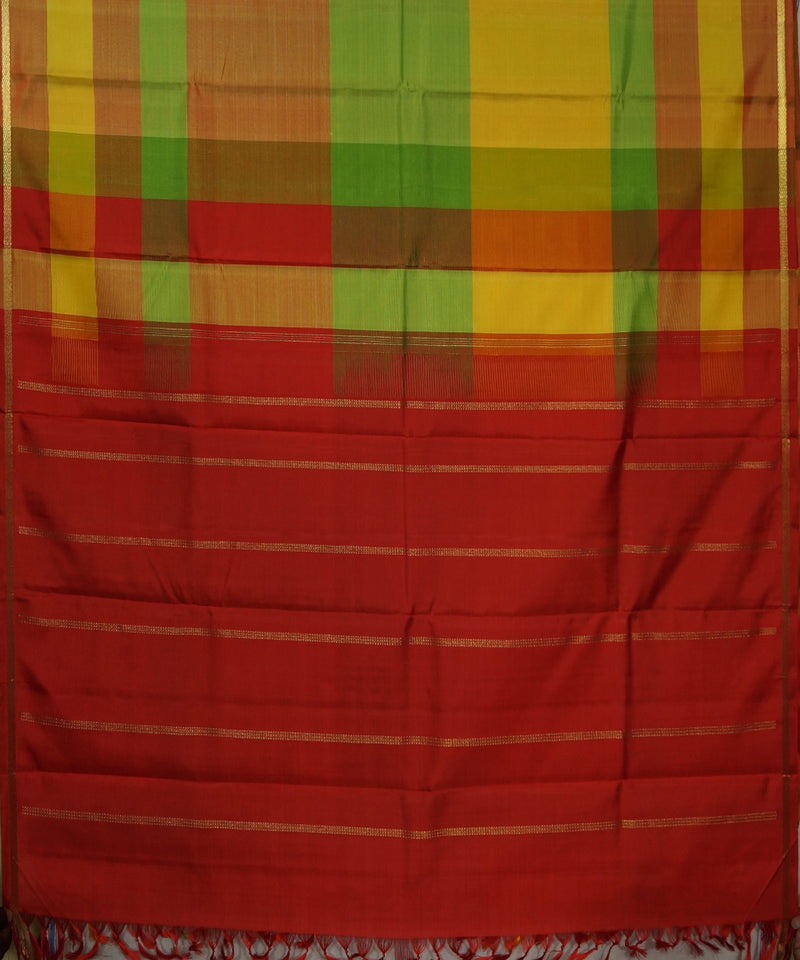 Red, Green, Yellow Handwoven Arni Silk Saree