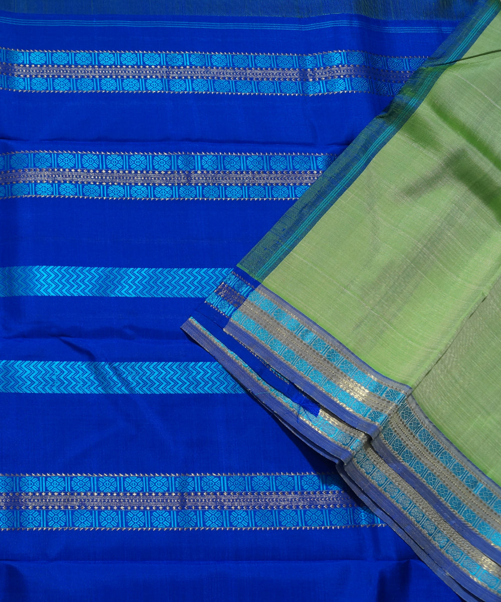 Green Navy Blue Handwoven Arni Silk Saree