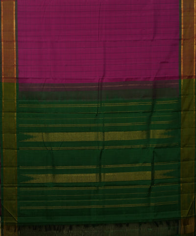Pink and Green Handwoven Arni Silk Saree