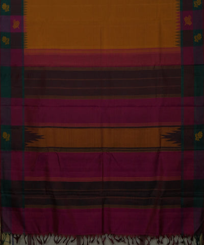 Saffron and Pink Handwoven Arni Silk Saree