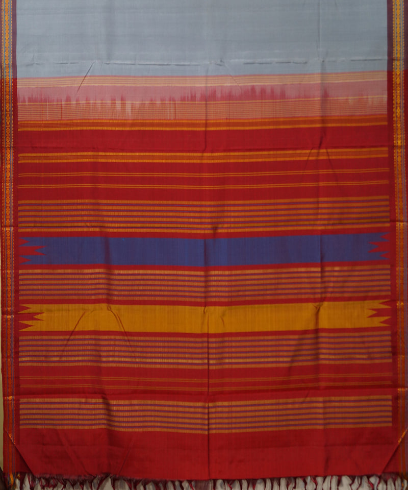 Grey and Red Handwoven Arni Silk Saree