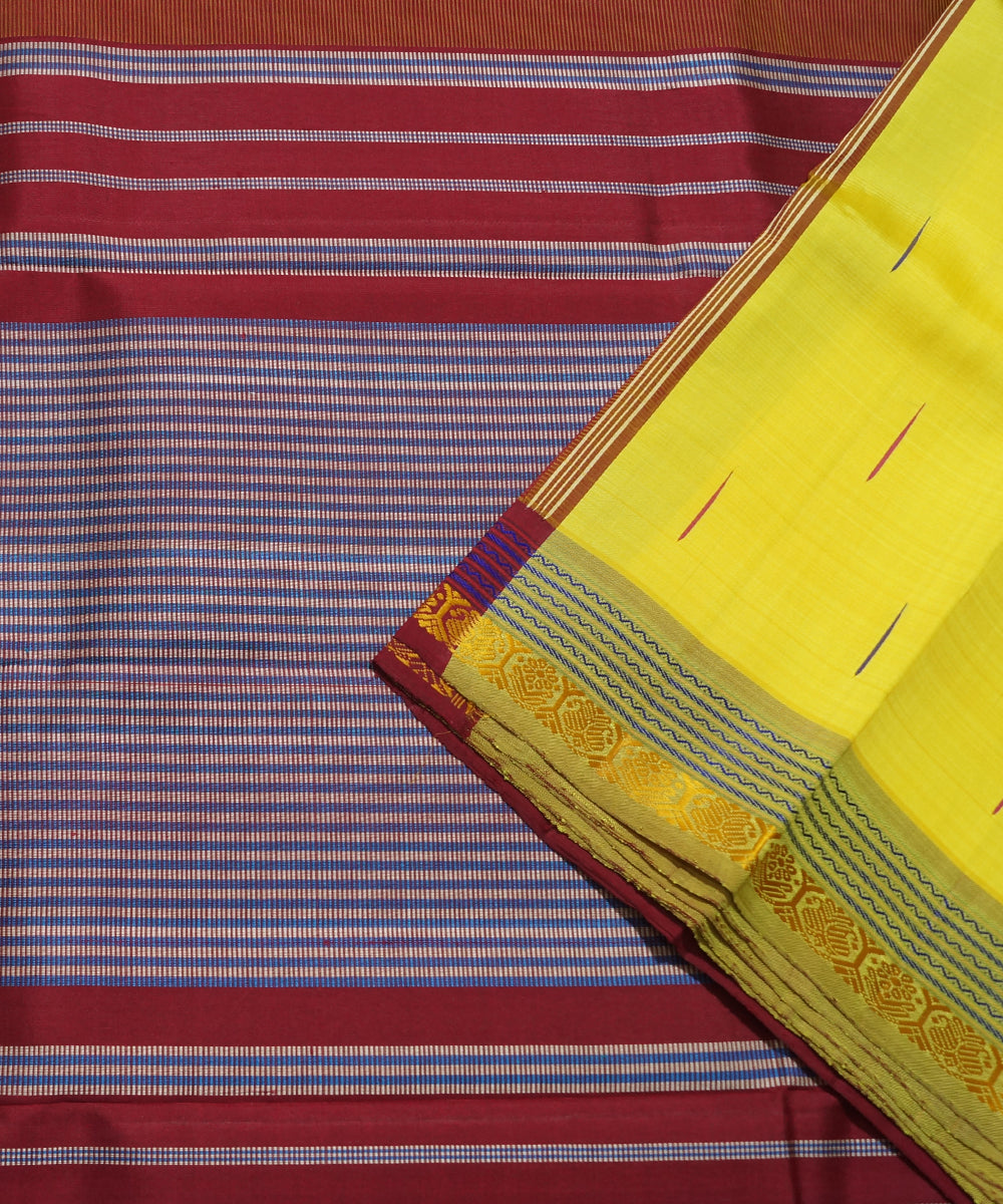 Yellow Red Handwoven Arni Silk Saree