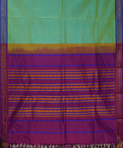 Pista Green Purple Handwoven Arni Silk Saree