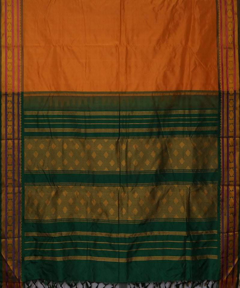 Orange and Green Handwoven Arni Silk Saree