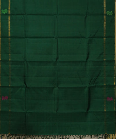 Plain Bottle Green Handwoven Arni Silk Saree