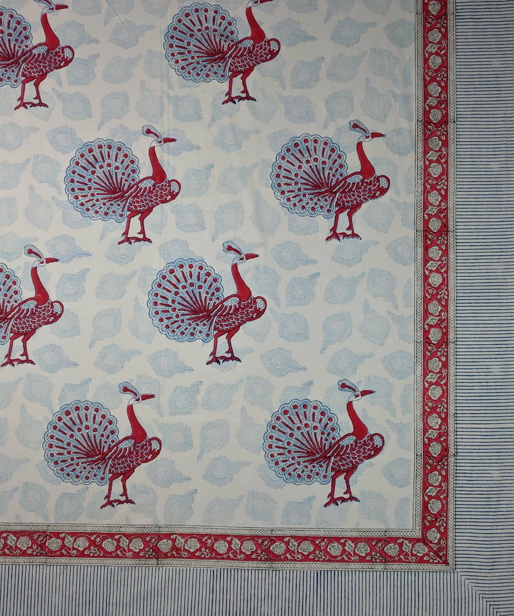 Dancing peacock hand block print bed sheet