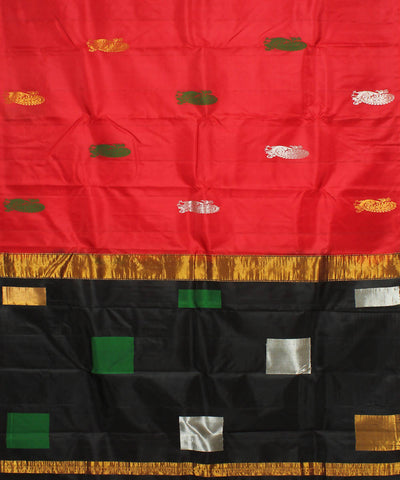 Red and Black Khadi Handloom Silk Saree