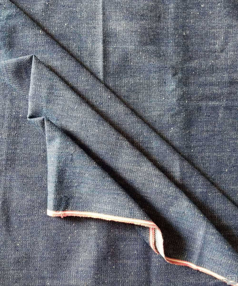 indigo white denim handspun handwoven cotton trouser and jacket fabric