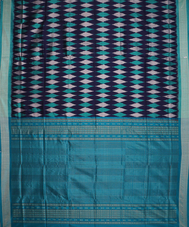 Ink blue handwoven ikat silk sambalpuri saree