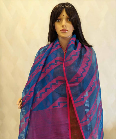 Cobalt blue and red kasuti hand embroidery jamdani dupatta